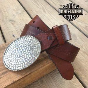 Harley Davidson Rhinestone Leather Engraved Belt